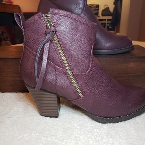 JustFAB Maroon/Purple Ankle Boots